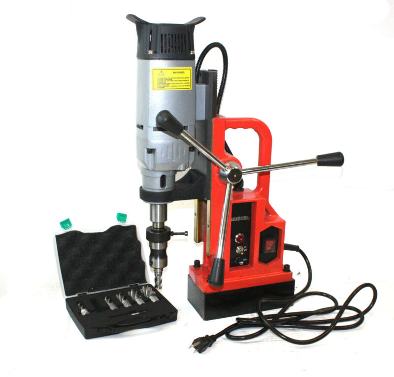 1350W Magnetic Core Drill Press 3372LBS Magnet Force w/6pc Annular Cutter Bits