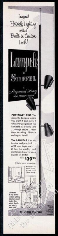 1956 Stiffel Lampole modern 3 light lamp pole photo vintage print ad
