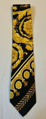 GIANNI VERSACE VINTAGE '90s ICONIC BAROQUE SILK TIE BLACK GOLD BAROCCO ITALY