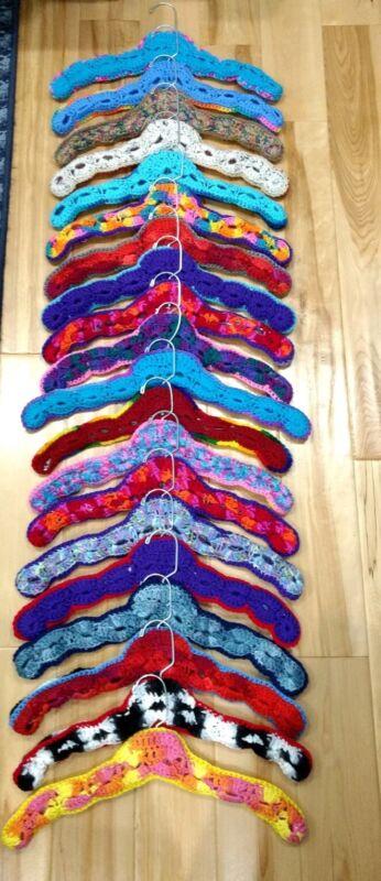 Vtg. Clothes Hangers Hand Crochet Knit Heavy Duty Plastic Multi Color-Lot of 20
