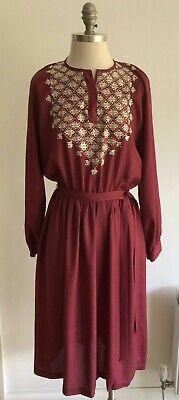 "Vintage Indian Hippy Festival Maroon Boho Dress, Size Armpit to Armpit 20"""