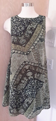 (GNW Sleeveless Sage Olive Green Floral Print Layered Sheath Dress Size Small)
