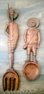 Don Quixote & Sancho Panza ethnic carved fork and spoon, wooden vintage wall art