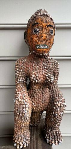 Vtg African? Tribal Sitting Lady Woman Statue Figure Beads & Job