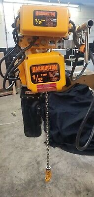 Harrington 12 Ton Electric Chain Hoist With Motorized Trolley 115230 Volts...