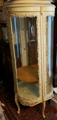 Antique French Curved Glass Vitrine or Curio Cabinet Round SEE THROUGH DISPLAY