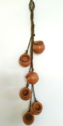 """Mexican Southwest 6 Hanging Mini Terracotta Clay Pots Wall Decor - Approx 19x4"""""""