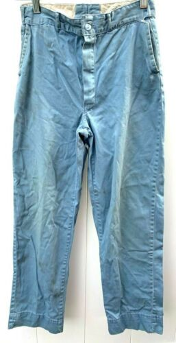 VTG Chino Work Pants 50s Zip Fly  Boys Coneset Fabric 28x29.5 Trousers Distress
