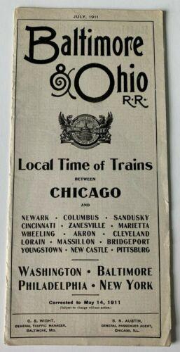 1911 Baltimore & Ohio B&O Railroad Timetable Brochure Chicago Washington NYC RR