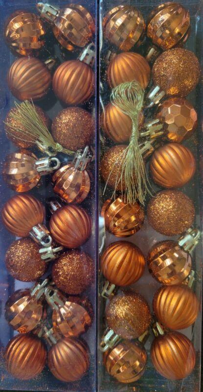 """NIP 32 Halloween Mini 1.18"""" Tree Glitter Ornaments 2 Sets of 16 ORANGE"""