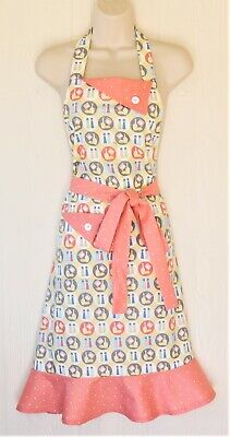 Retro Apron for Women, Vintage Cooking Theme, Coral with Polka Dots, Handmade