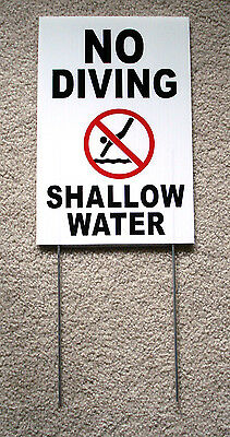 No Diving Shallow Water Wsymbol 8 X12 Plastic Coroplast Sign Wstake White