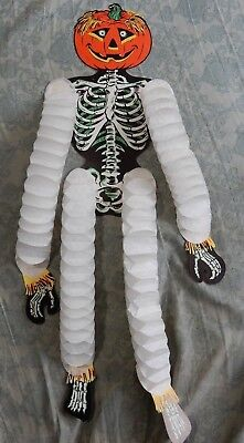 Vintage Beistle Pumpkin Skeleton Accordion Tissue Paper Halloween Decoration