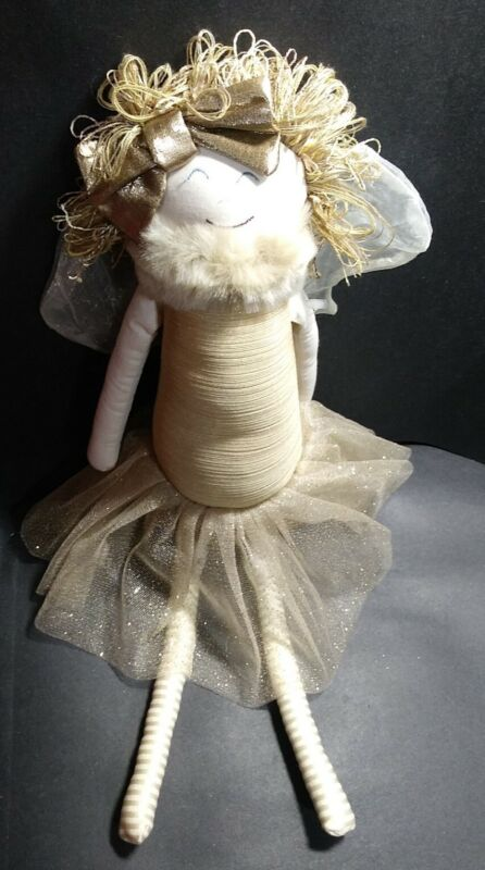 """WOOF & POOF 22"""" GOLD & CREAM CHRISTMAS ANGEL 2012 BUTTON plush decor doll"""