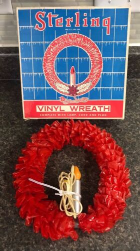 Vintage 1950s Sterling No. 7041 Vinyl Lighted Christmas Wreath w/ Original Box