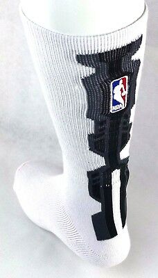 NBA Adult Platform Crew Socks White with Logo and Gray and Black Design