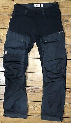 FJALLRAVEN KEB Trousers EU Size 46 Black Graphite Waist 32 Inch Leg 32 Inch