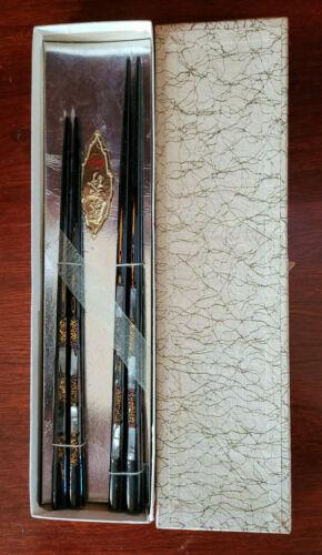Vintage 2 Pair Japanese Inlaid Abalone Chopsticks NIB