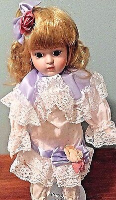 "Vintage Porcelain Doll Heritage Mint ""Abbey"" with Tags and Stand Limited 16"""