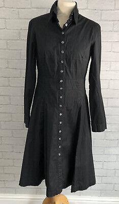 Linea Size 10 Black Long Sleeve Button Front Cotton Shirt Dress Grunge