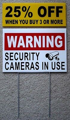 Warning Security Cameras In Use Coroplast  Yard Sign 8X12  W  Stake  Security