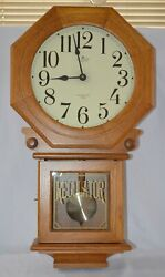 D&A Schoolhouse Wall Clock Regulator Oak Pendulum Westminster Chime Quartz Wood