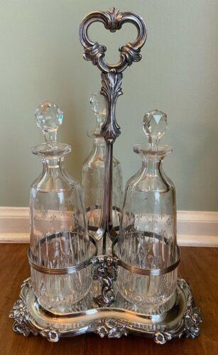 Antique Silver Plated 3 Bottle Decanter Set Fleur-De-Lis Glass