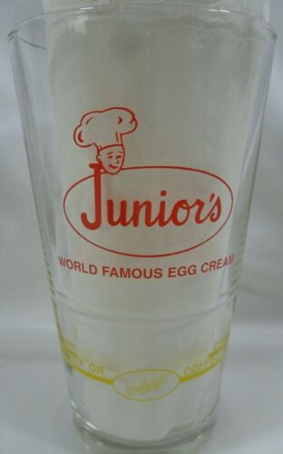 Vintage Juniors World Famous Egg Cream Recipe Mixing Glass Brooklyn U Bet Syrup