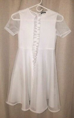 Girls White David Charles Mesh Dress  Size 12