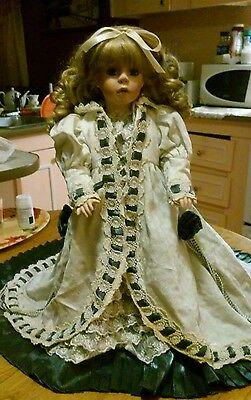PORCELAIN DOLL-BLOND,BLUE EYES-VICTORIAN DRESS-19 INCHES TALL-WITH STAND