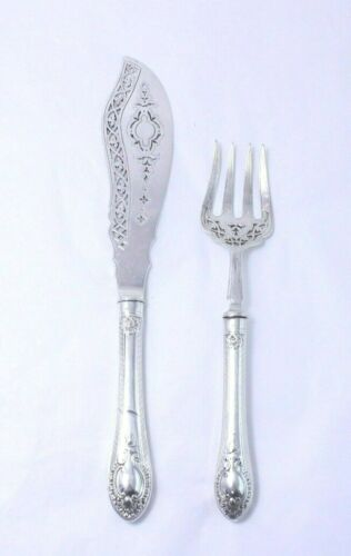 Antique English Martin, Hall & Co Sterling Silver Ornate Fish Serving Set