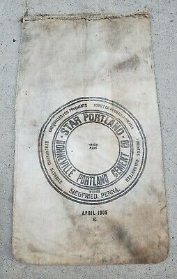 Vintage Star Portland Cement Bag Sack Canvas Sigfried Penna. 1905