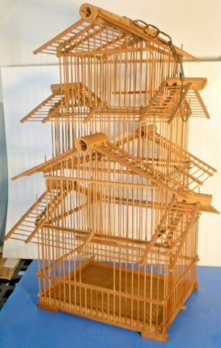 """Vintage Pagoda Style Bamboo 3 Level Wooden 24""""H x 9""""W Hanging Bird Cage House"""