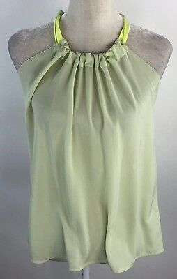 H&M Conscious Collection Womens 4 Blouse Green Halter Tie Neck Loose