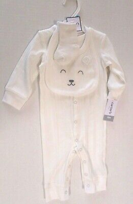 Carter's Baby Boys 3 Pc Ribbed Jumpsuit Set with Bear Bib & Socks Ivory 6 Month ()