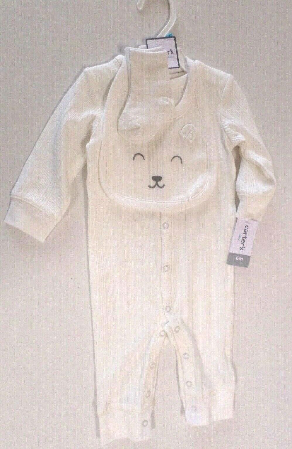 Carter's Baby Boys 3 Pc Ribbed Jumpsuit Set with Bear Bib &