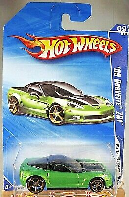 2009 Hot Wheels #135 Faster Than Ever 9/10 '09 CORVETTE ZR1 Green Variant w/FTEs
