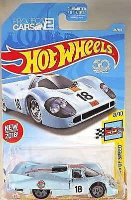 2018 Hot Wheels #124 Legends of Speed 8/10 Gulf  PORSCHE 917 LH Blue w/Gray 5 Sp