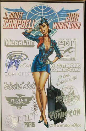 WORLD TOUR 2011 BLUE SUIT J.SCOTT CAMPBELL SIGNED PRINT 11 x 17 #oa-1215