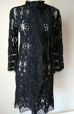 Hoss Intropia Wool Blend Lace Dress Long Bell Sleeve Snap Tie Neck Black Sz.38