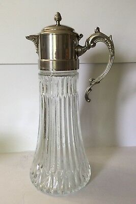 RARE Tall GLASS COFFEE POT With Silver Plated Handle and Lid Dining Entertaining