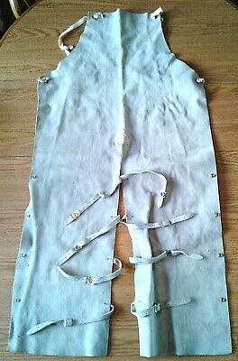 Leather Welding Apron Chaps Full Length Adjustable Pant Style Gray 23 W 47 L