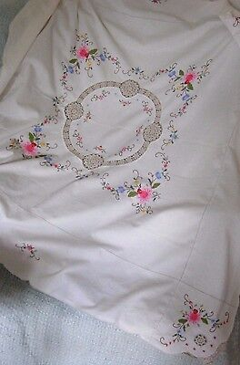 VINTAGE HAND EMBROIDERED CROSS STITCH FLORAL ROSE & CROCHET TABLECLOTH 46
