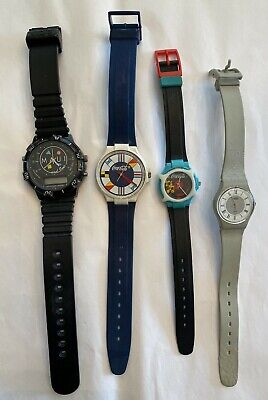 Vintage Swatch Watch 80s 1980s Swiss Made Lot Of 4 Watches Coca Cola Maui & Sons