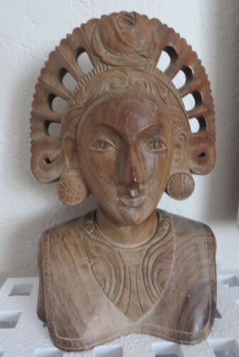 Ebony  Indonesian Wood Carved Woman Flower Sculpture Bust Statue