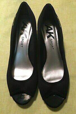 Womens Black Anne Klein Sport Open Toe Wedge Shoe Size 6M Career Wear