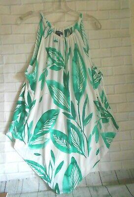 Alfani XL Teal White Halter Neck Sleeveless Handkerchief Hem Blouse Top Dress