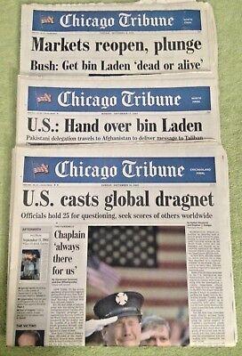 Chicago Tribune   Get Bin Laden   3   9 11  Newspapers  Sept  16 17 18  2001