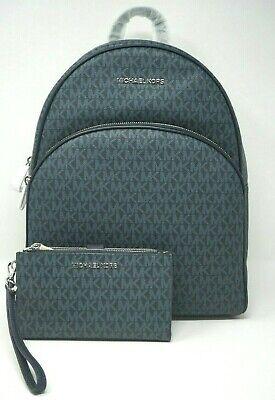 Michael Kors Abbey Medium Admiral Blue Signature Backpack & Wristlet Wallet Set