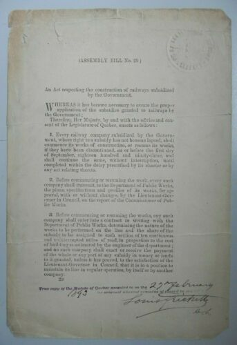 Assembly Bill No.9 Signed by Louis Frechette x2 Liberal Politic , Quebec Author